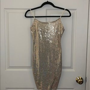 Brand new holographic sequin mini dress